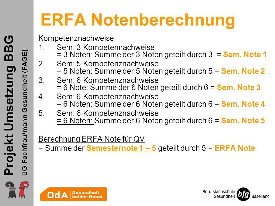 ERFA Notenberechnung Kompetenznachweise
