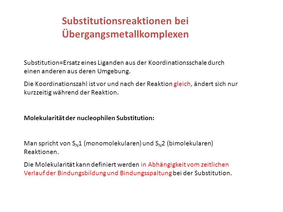 Substitutionsreaktionen bei Übergangsmetallkomplexen