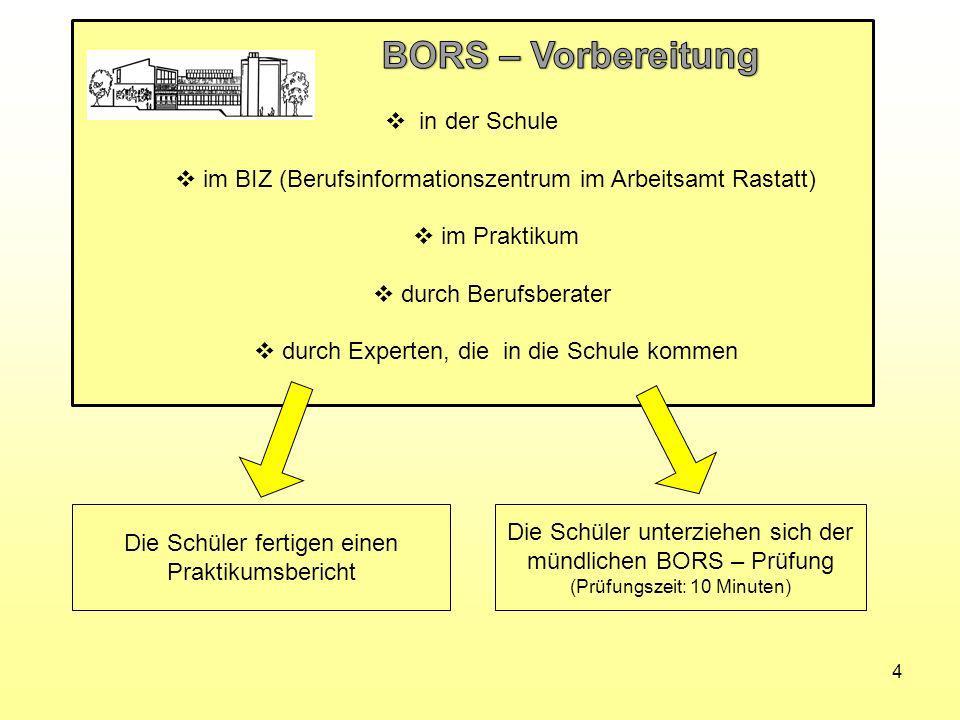 BORS – Vorbereitung in der Schule