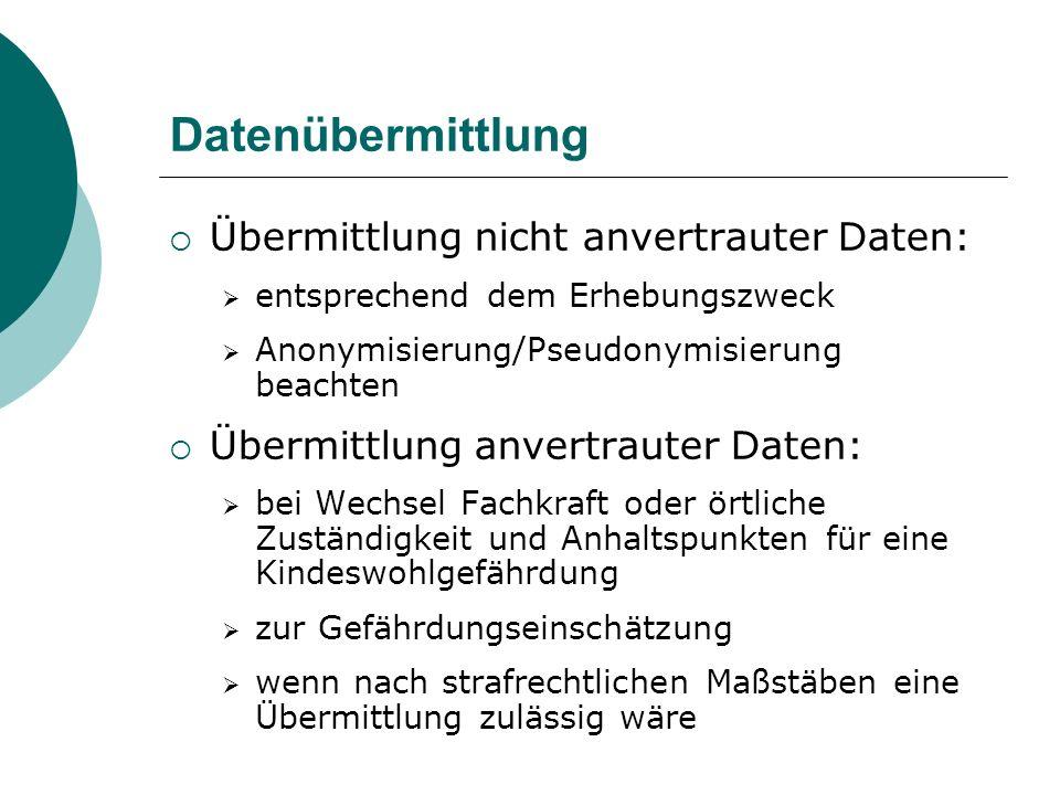 Datenübermittlung Übermittlung nicht anvertrauter Daten: