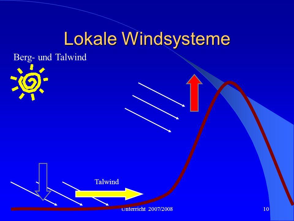 Lokale Windsysteme Berg- und Talwind Talwind Unterricht 2007/2008