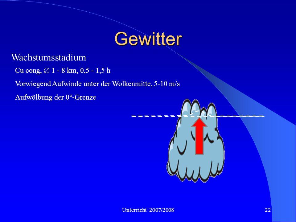 Gewitter Wachstumsstadium Cu cong,  1 - 8 km, 0,5 - 1,5 h