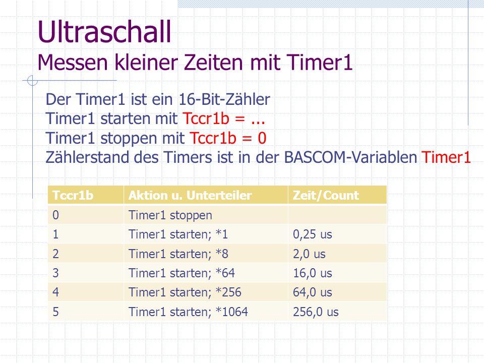 Ultraschall Messen kleiner Zeiten mit Timer1