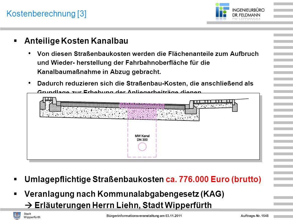 Anteilige Kosten Kanalbau