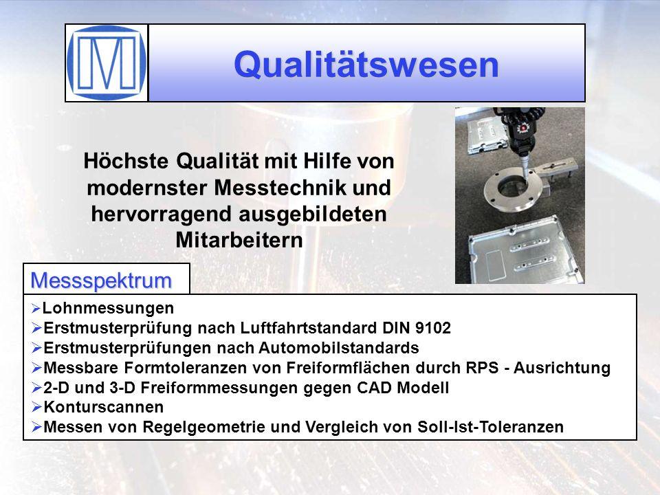 Qualitätswesen Höchste Qualität mit Hilfe von modernster Messtechnik und hervorragend ausgebildeten Mitarbeitern.