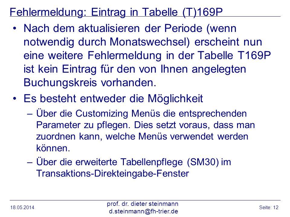 Fehlermeldung: Eintrag in Tabelle (T)169P