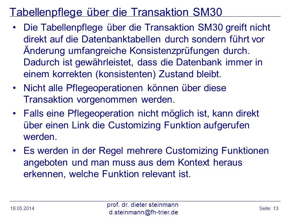 Tabellenpflege über die Transaktion SM30