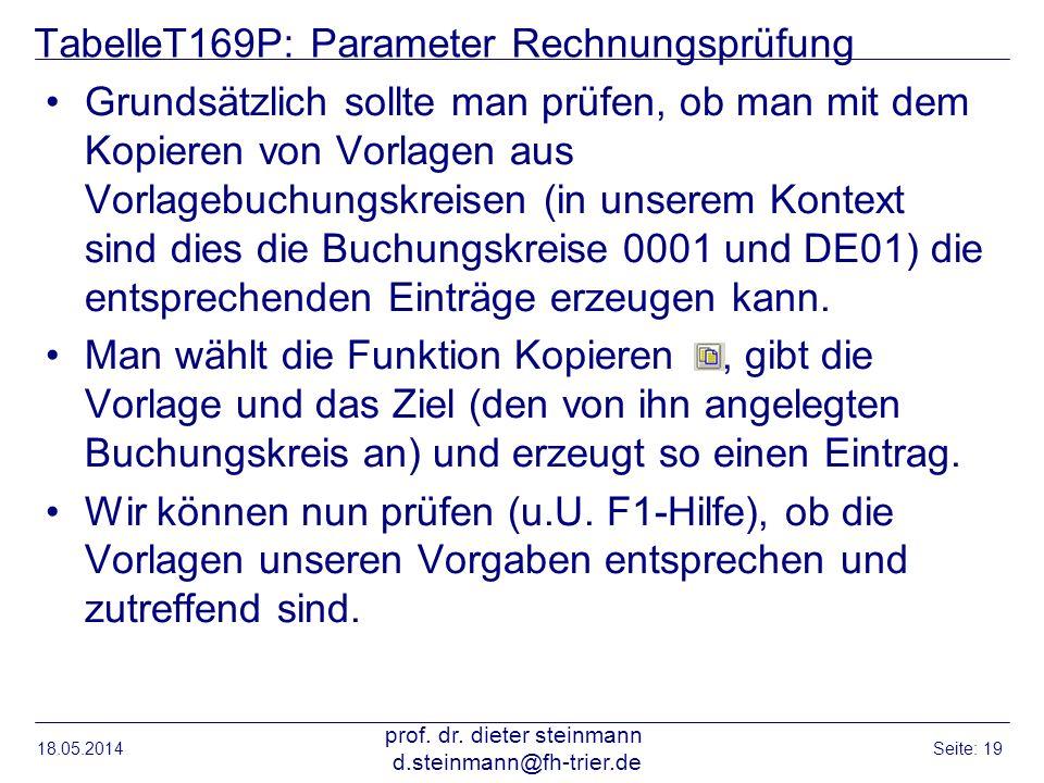 TabelleT169P: Parameter Rechnungsprüfung