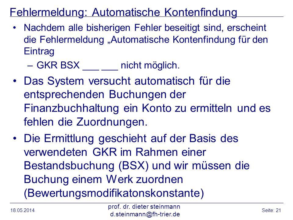 Fehlermeldung: Automatische Kontenfindung