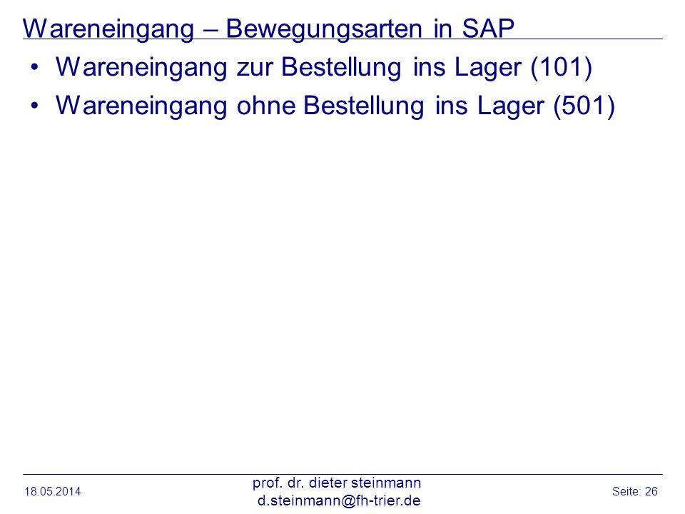 Wareneingang – Bewegungsarten in SAP
