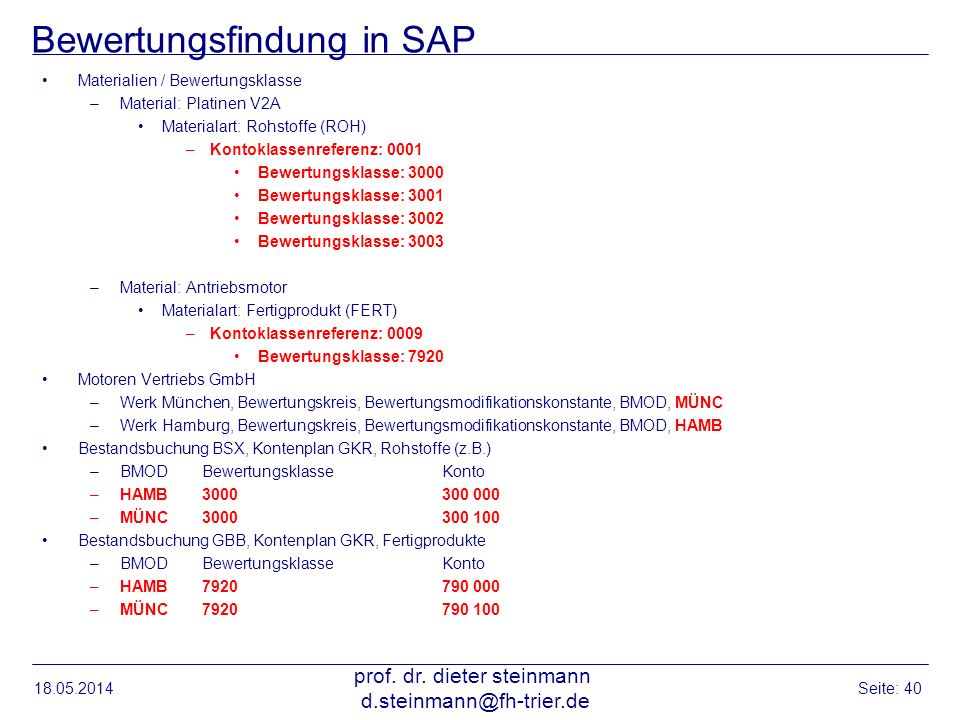 Bewertungsfindung in SAP