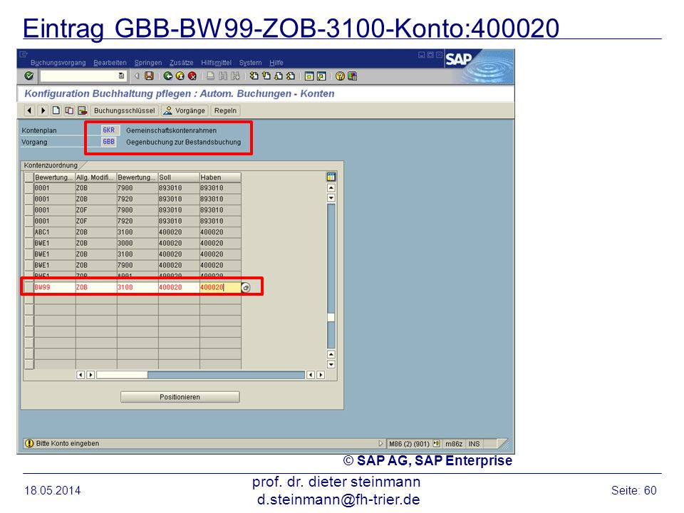 Eintrag GBB-BW99-ZOB-3100-Konto:400020