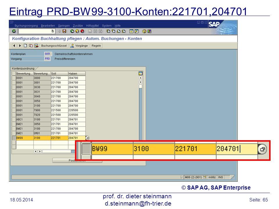 Eintrag PRD-BW99-3100-Konten:221701,204701