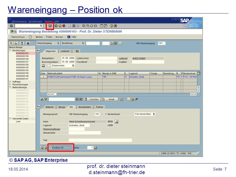 Wareneingang – Position ok