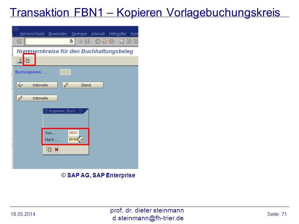 Transaktion FBN1 – Kopieren Vorlagebuchungskreis