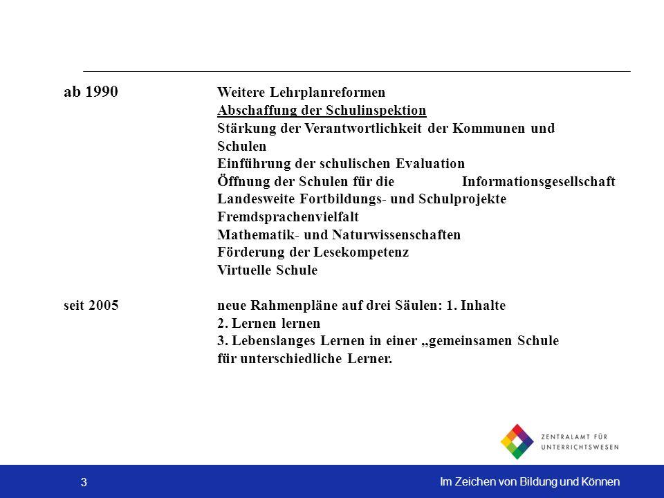 ab 1990 Weitere Lehrplanreformen