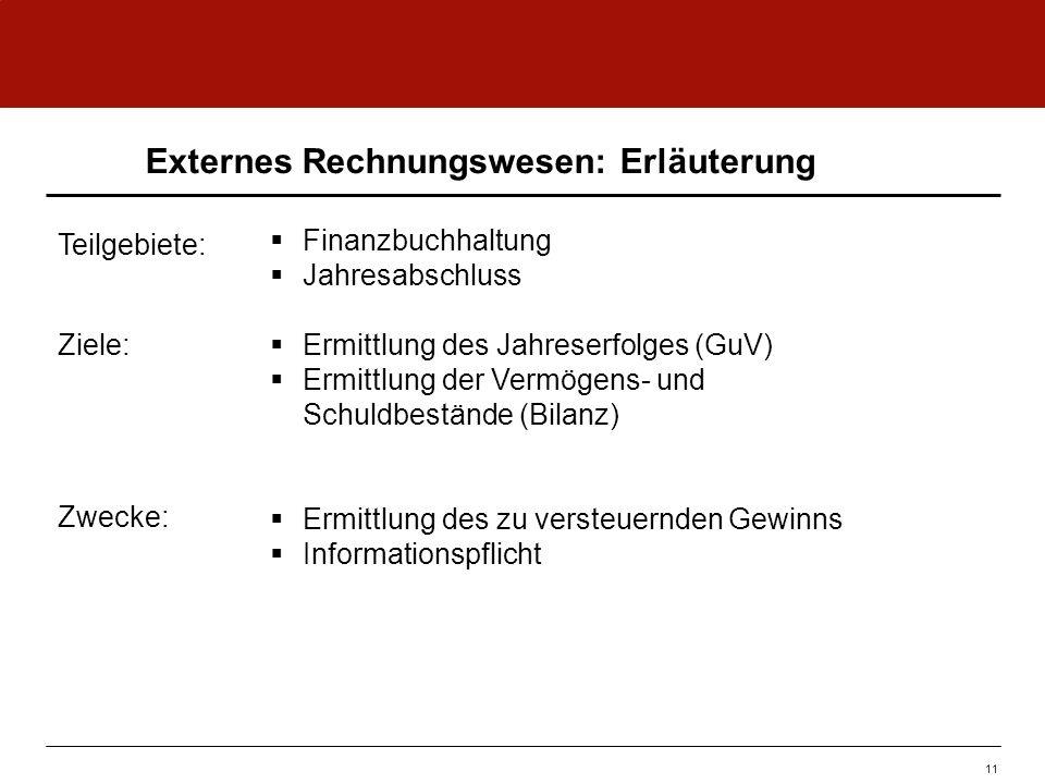 Externes Rechnungswesen: Erläuterung