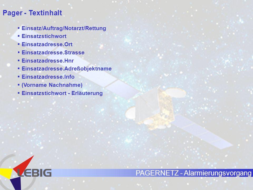 Pager - Textinhalt Einsatz/Auftrag/Notarzt/Rettung Einsatzstichwort