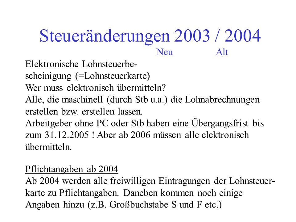 Steueränderungen 2003 / 2004 Neu Alt