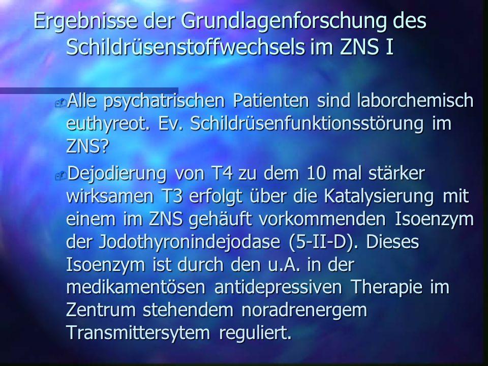 Ergebnisse der Grundlagenforschung des Schildrüsenstoffwechsels im ZNS I