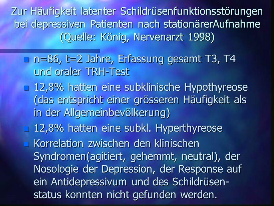 Zur Häufigkeit latenter Schildrüsenfunktionsstörungen bei depressiven Patienten nach stationärerAufnahme (Quelle: König, Nervenarzt 1998)