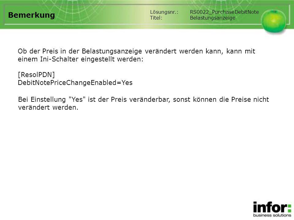 Bemerkung Lösungsnr.: RS0022_PurchaseDebitNote. Titel: Belastungsanzeige.