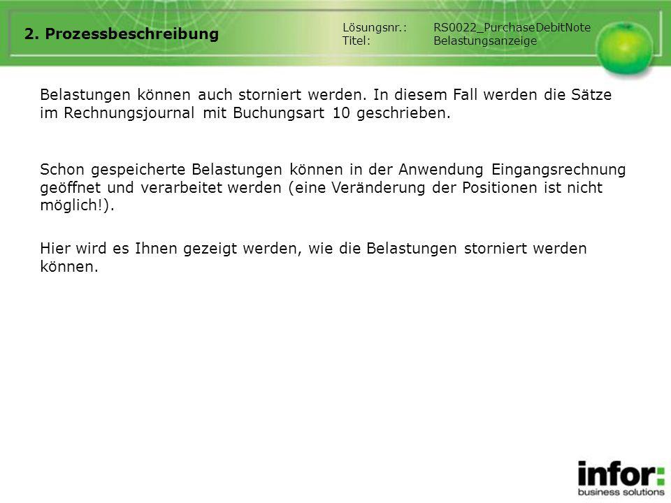 2. Prozessbeschreibung Lösungsnr.: RS0022_PurchaseDebitNote. Titel: Belastungsanzeige.