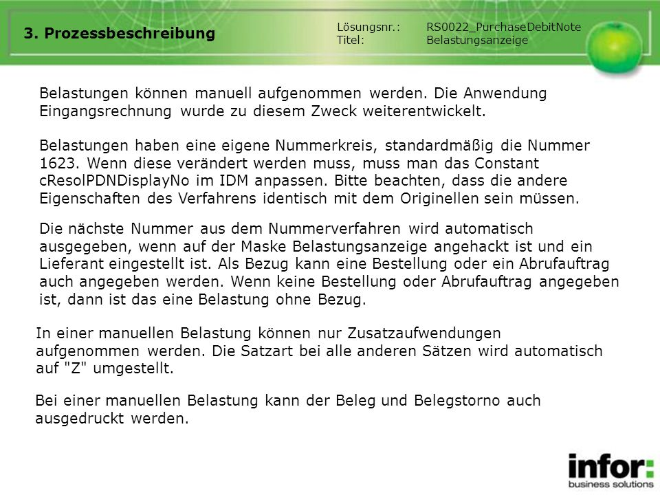 3. Prozessbeschreibung Lösungsnr.: RS0022_PurchaseDebitNote. Titel: Belastungsanzeige.