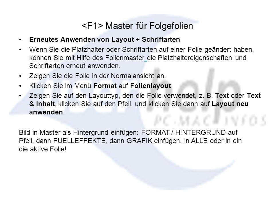 <F1> Master für Folgefolien