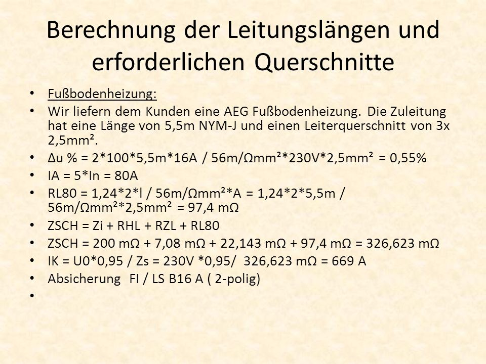 Berechnung der Leitungslängen und erforderlichen Querschnitte