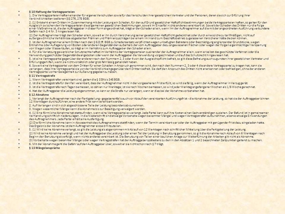 § 10 Haftung der Vertragsparteien