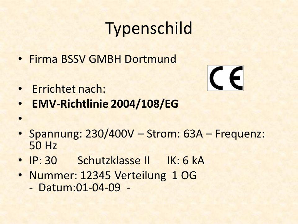 Typenschild Firma BSSV GMBH Dortmund Errichtet nach: