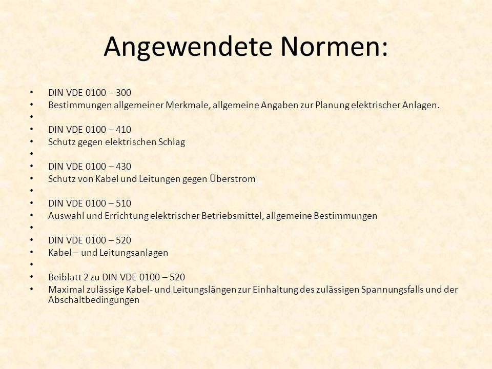 Angewendete Normen: DIN VDE 0100 – 300