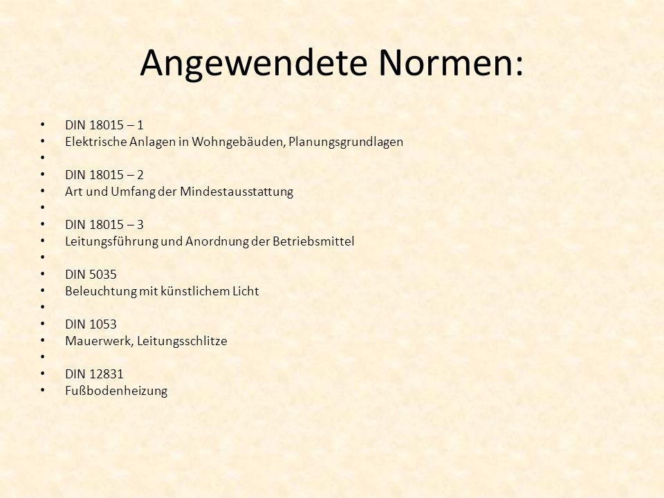Angewendete Normen: DIN 18015 – 1