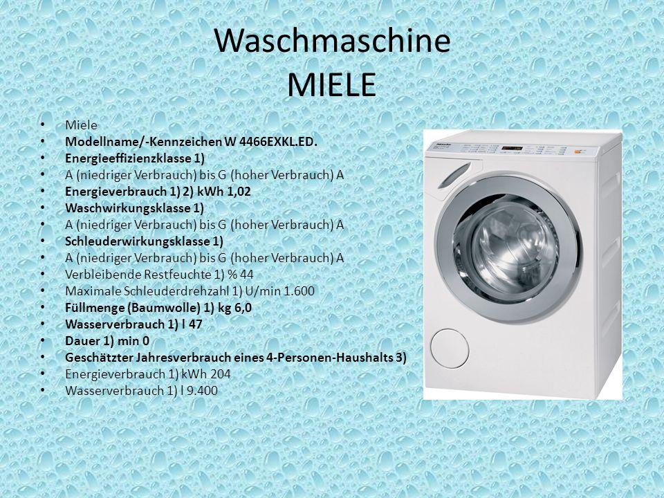 Waschmaschine MIELE Miele Modellname/-Kennzeichen W 4466EXKL.ED.