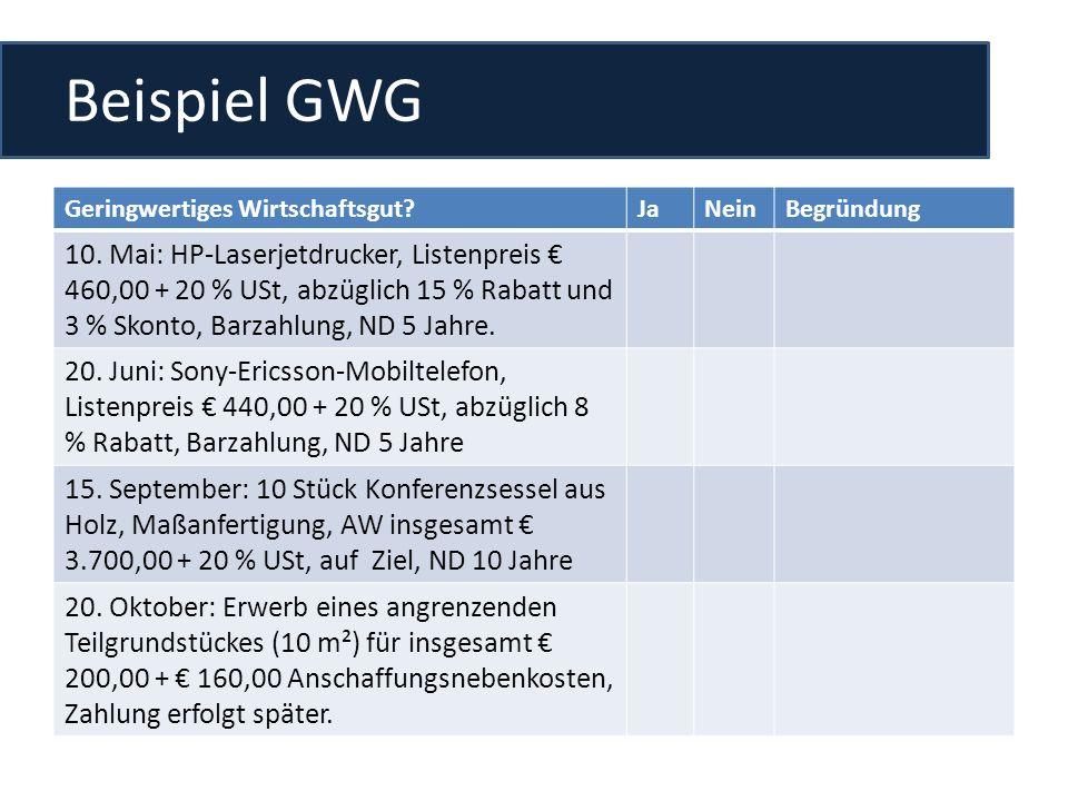 Beispiel GWG Geringwertiges Wirtschaftsgut Ja. Nein. Begründung.