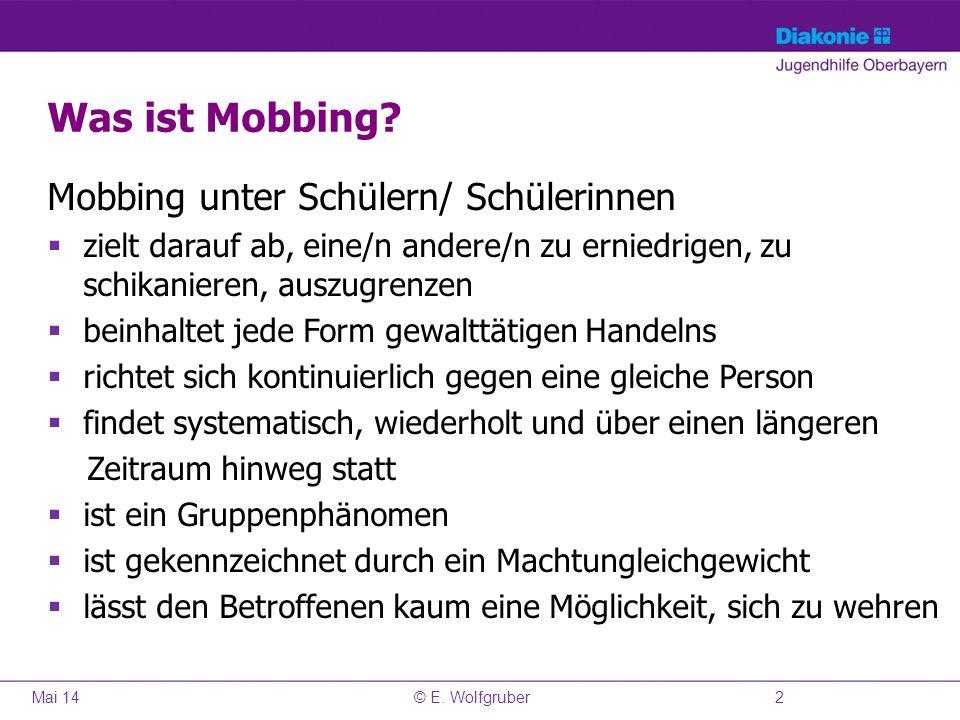 Was ist Mobbing Mobbing unter Schülern/ Schülerinnen