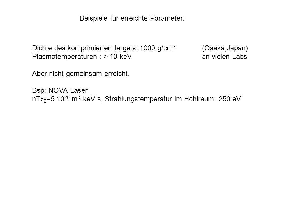 Beispiele für erreichte Parameter: