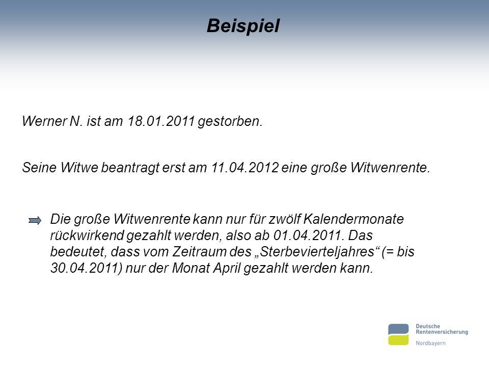 Beispiel Werner N. ist am 18.01.2011 gestorben.