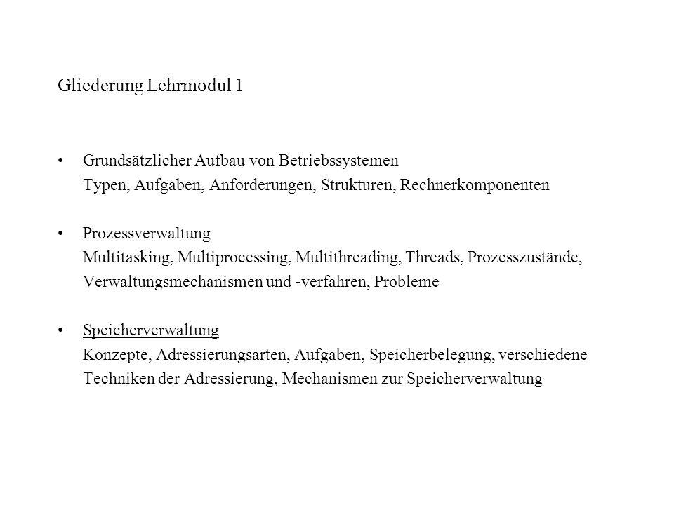 Gliederung Lehrmodul 1 Grundsätzlicher Aufbau von Betriebssystemen