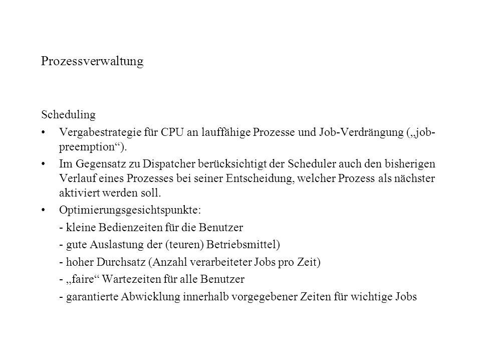 Prozessverwaltung Scheduling