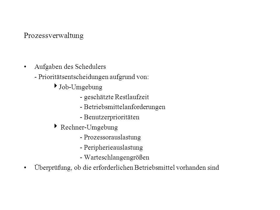 Prozessverwaltung Aufgaben des Schedulers