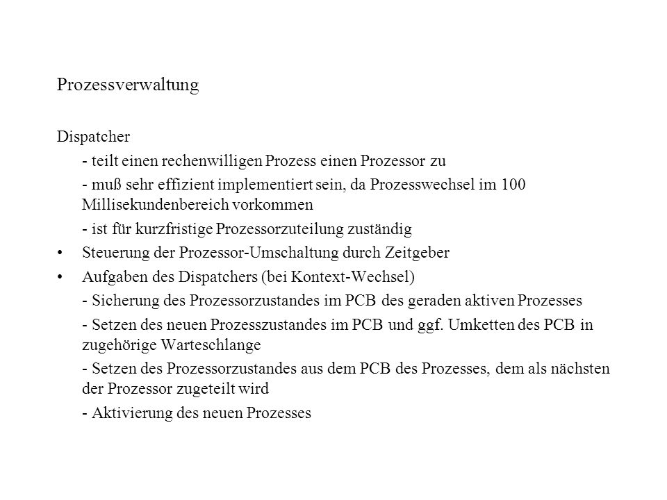 Prozessverwaltung Dispatcher