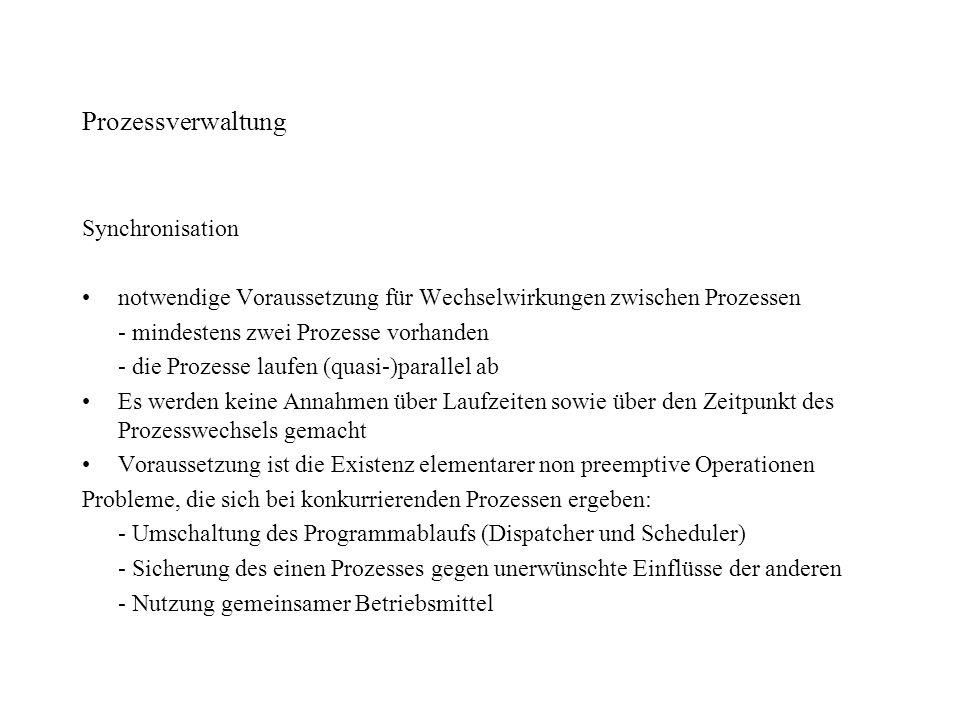 Prozessverwaltung Synchronisation