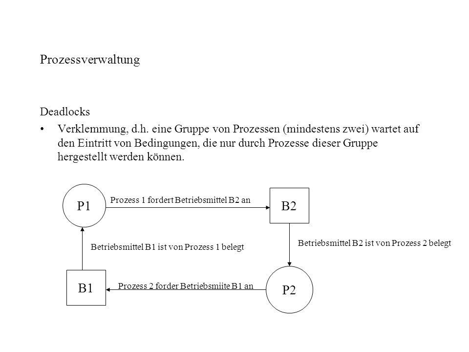 Prozessverwaltung P1 B2 B1 P2 Deadlocks