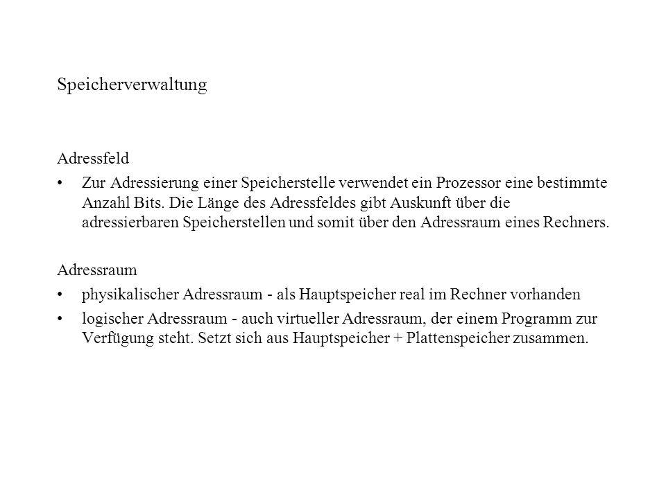 Speicherverwaltung Adressfeld