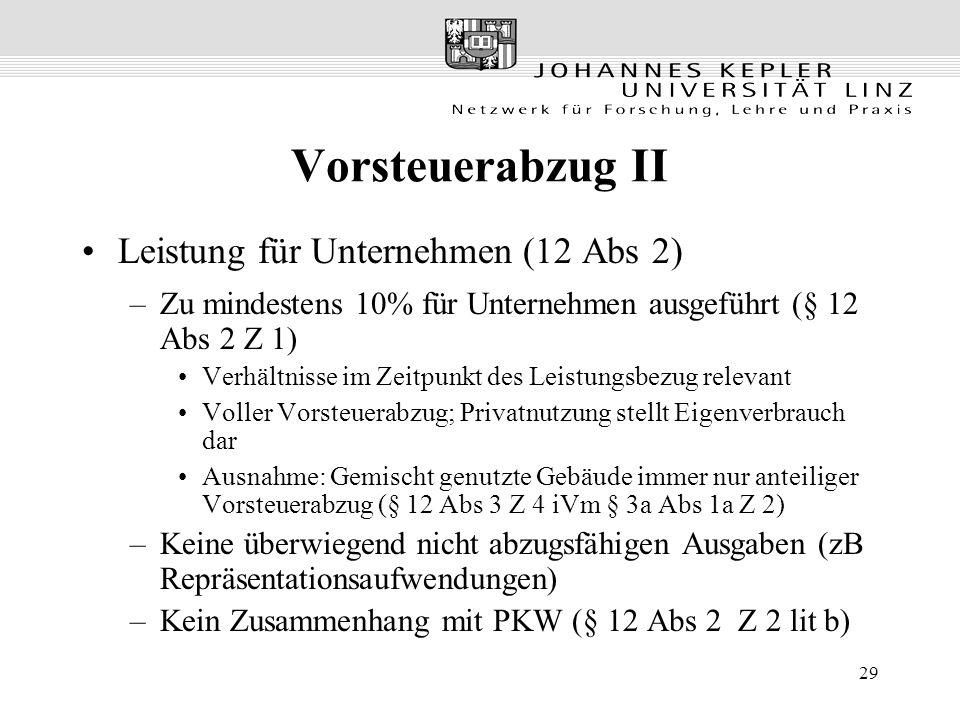 Vorsteuerabzug II Leistung für Unternehmen (12 Abs 2)