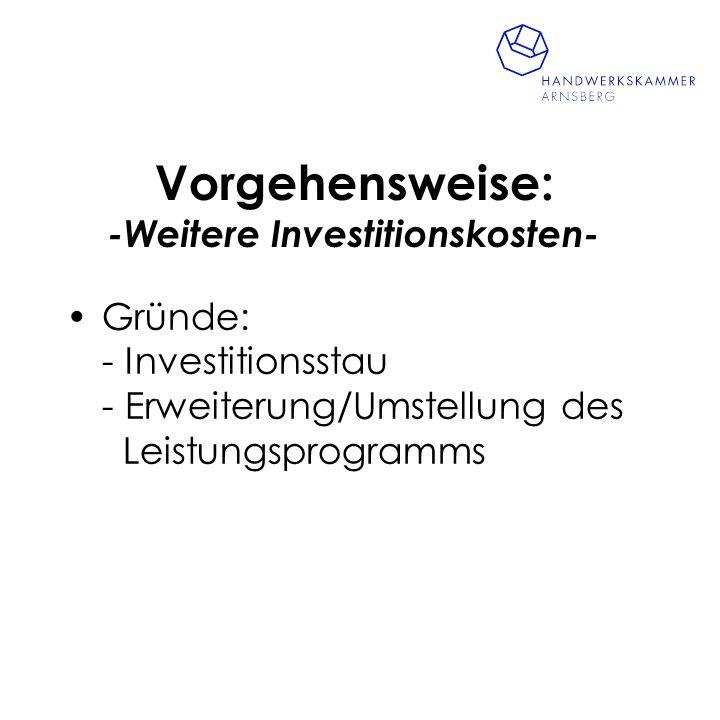 Vorgehensweise: -Weitere Investitionskosten-