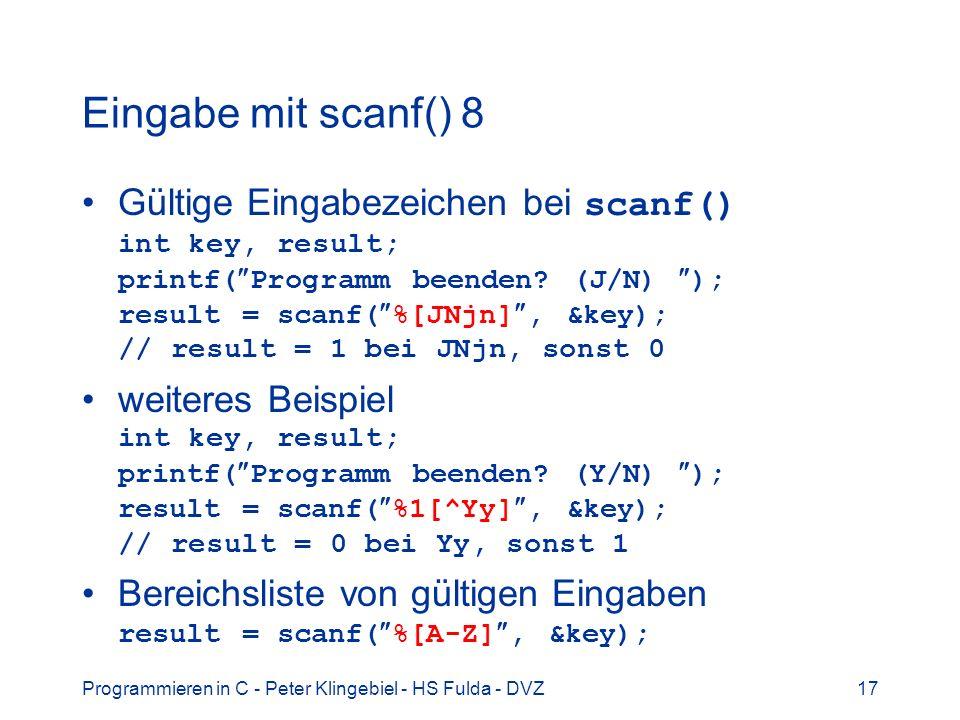 Eingabe mit scanf() 8