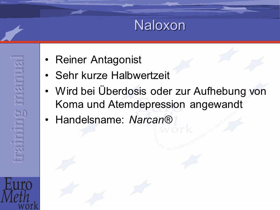 Naloxon Reiner Antagonist Sehr kurze Halbwertzeit